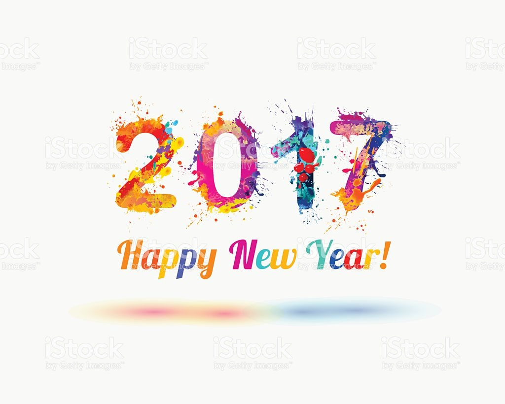Congratulation Card Happy New Year 2017 stock vector art 594070632.