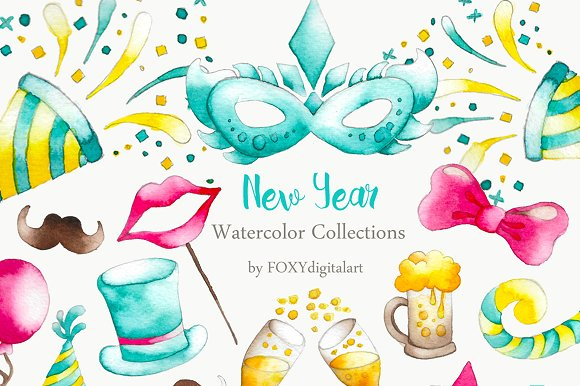 Watercolor New Year Party Clipart.