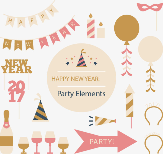 Happy New Year Party Elements, New Vecto #145953.