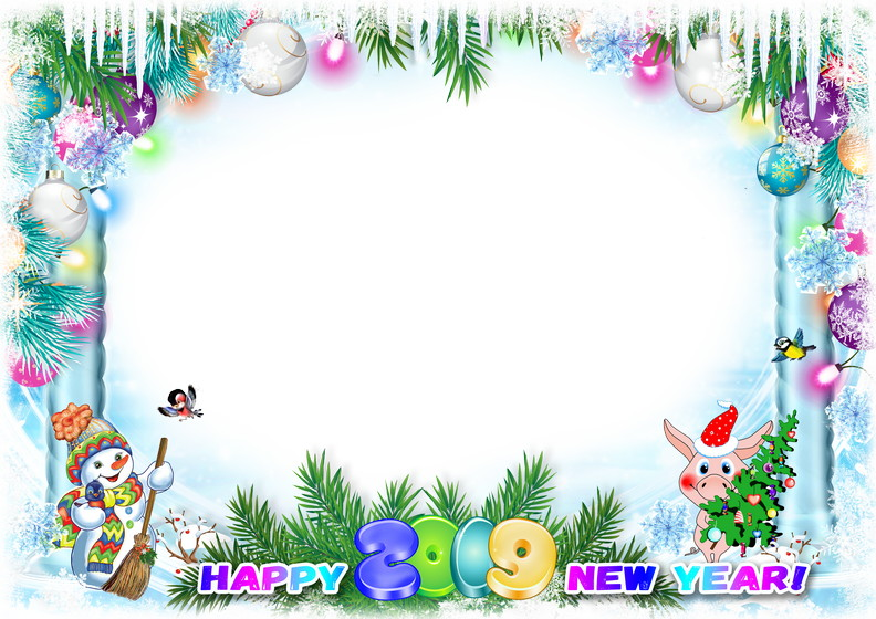 Happy New Year 2019! Photo frame PSD, PNG. Transparent PNG.