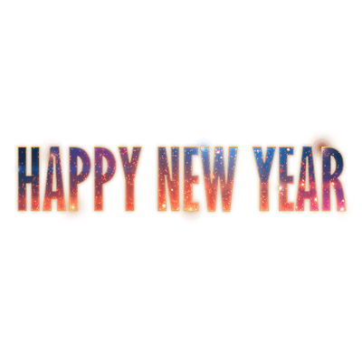 Happy New Year Fireworks Text transparent PNG.