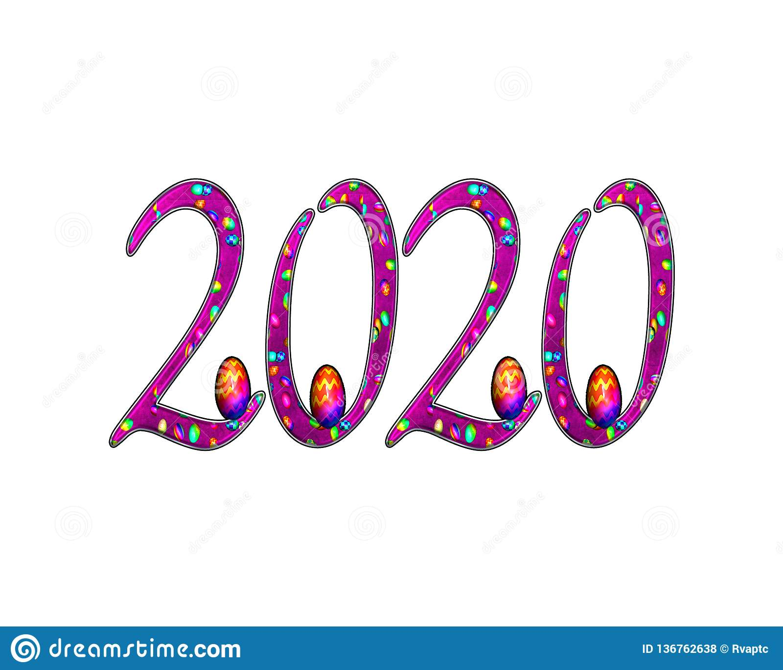 Happy New Year 2020 Text Effect PNG Stock Photo.