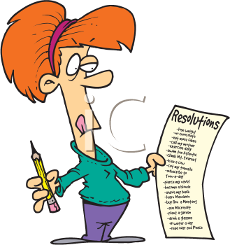Clipart Image of a Woman Making New Years Resolutions.
