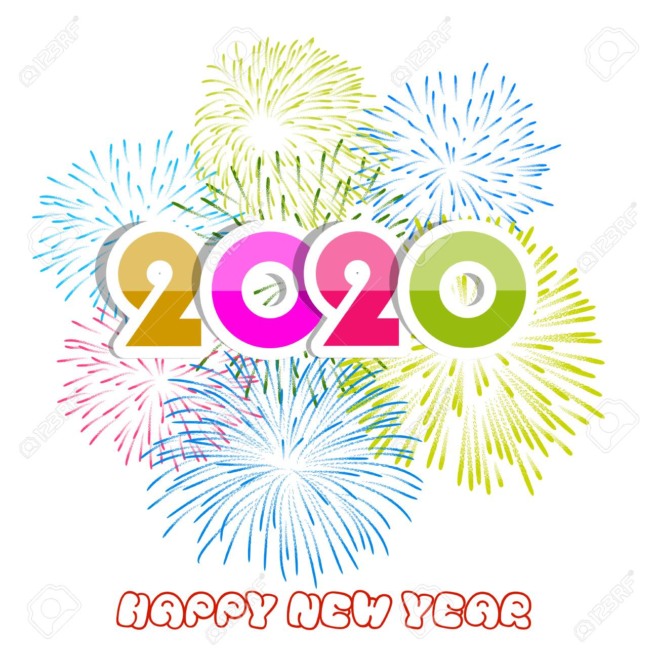 New Years Day Happy New Year 2020 Clipart.