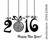 Happy New Year 2016 Clipart Black And White.