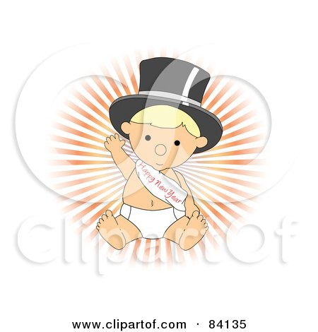 Clipart Baby Walking Upright And Wearing A Top Hat And Happy.