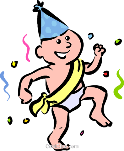 New Year's Day baby Royalty Free Vector Clip Art.