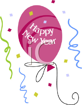 Royalty Free Clip Art Image of a Happy New Year Balloon.