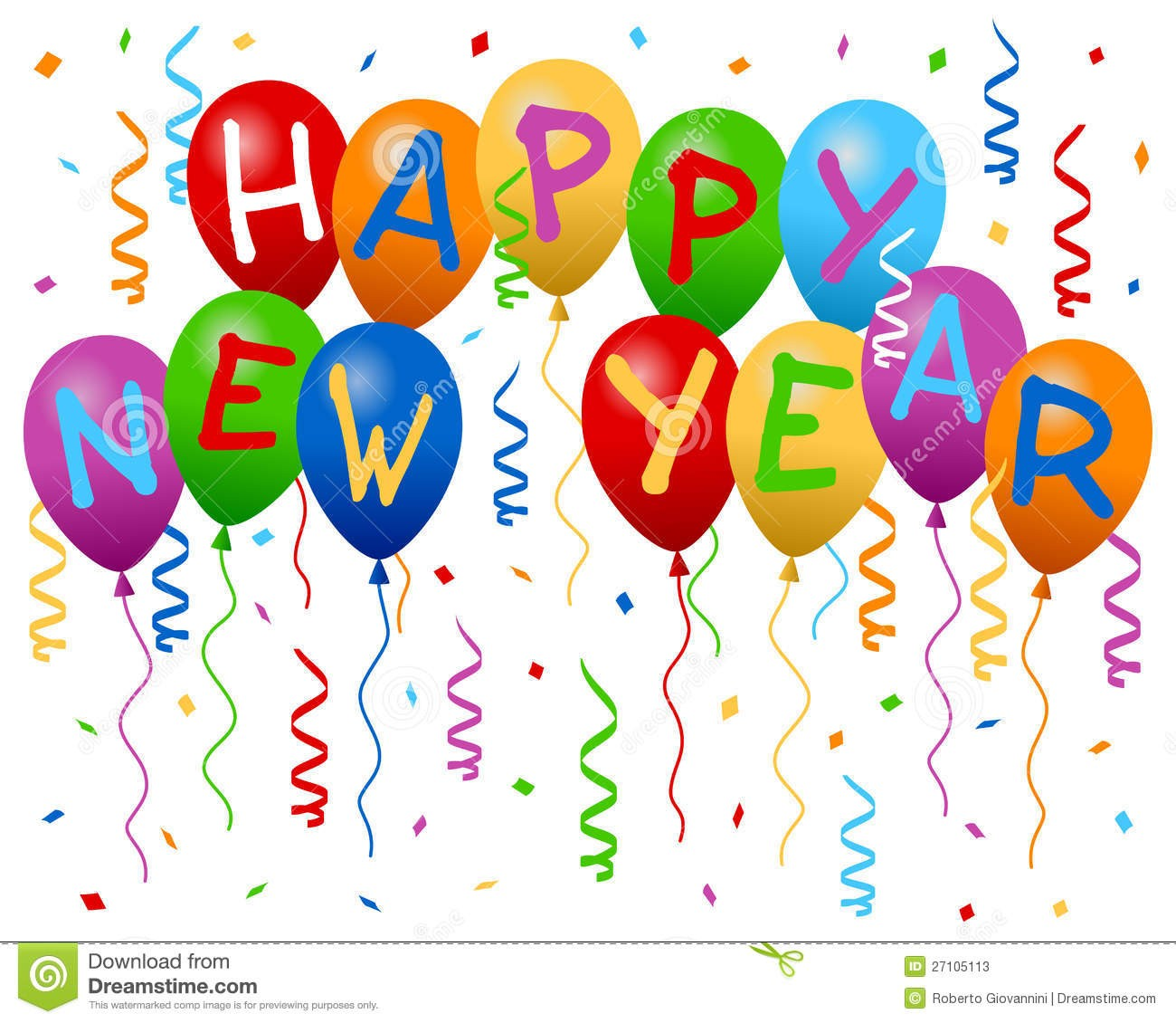 Happy New Year Balloons Clipart 1 While Banner.