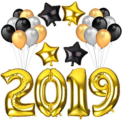 Howaf 2019 Balloons New Year Decoration, 40Inch Number 2019 Gold Foil  Balloons Large, 18Inch Mylar Foil Star Balloon, Black Silver Latex Balloons  for.