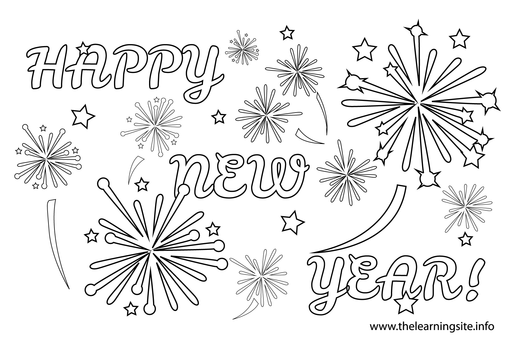 New years fireworks clipart black and white 3 » Clipart Station.