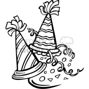 New Years Eve hats clipart. Royalty.