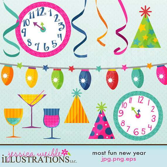 65+ New Year Card Clipart.