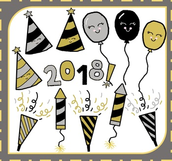 New Year Clipart / New Year's Clipart / Happy New Year Clipart / 2018  Clipart.