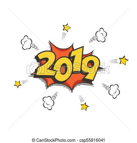 2019 New Year comic book style postcard or greeting card element. Vector  2019 New Year retro design..