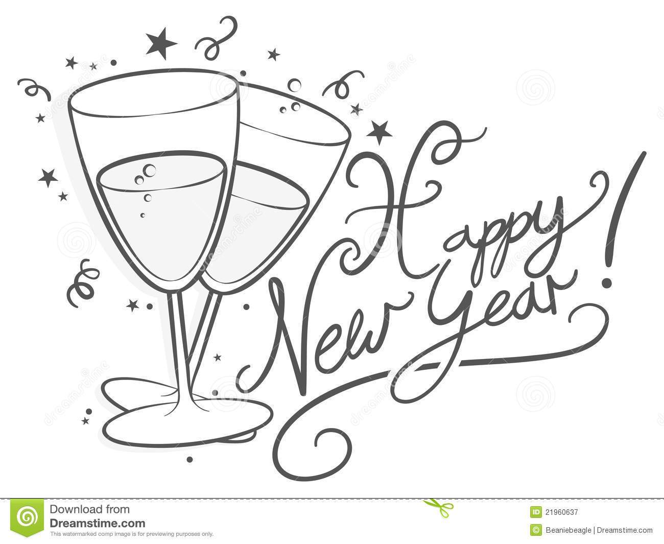 New years clipart black and white 5 » Clipart Portal.