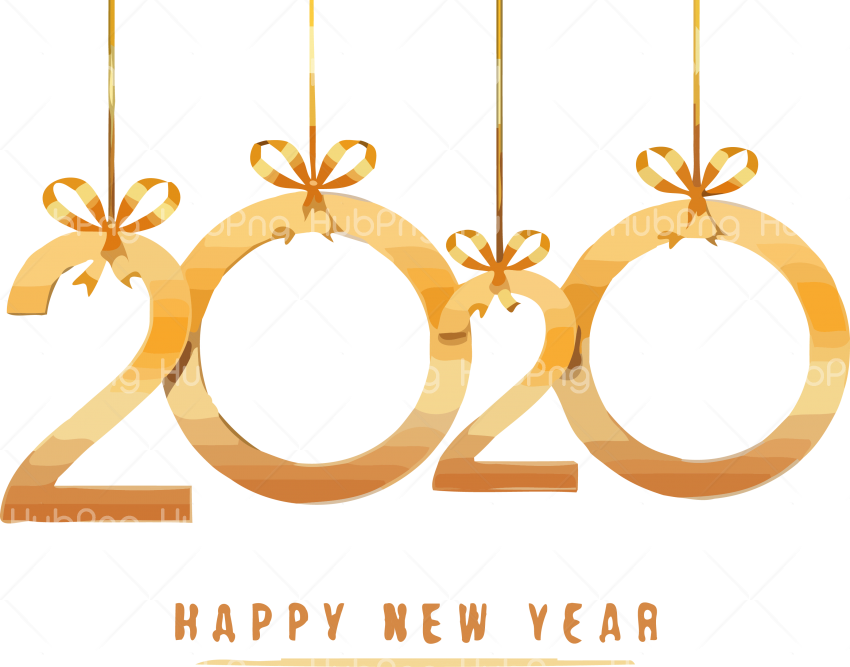 happy new year 2020 png gold Transparent Background Image.
