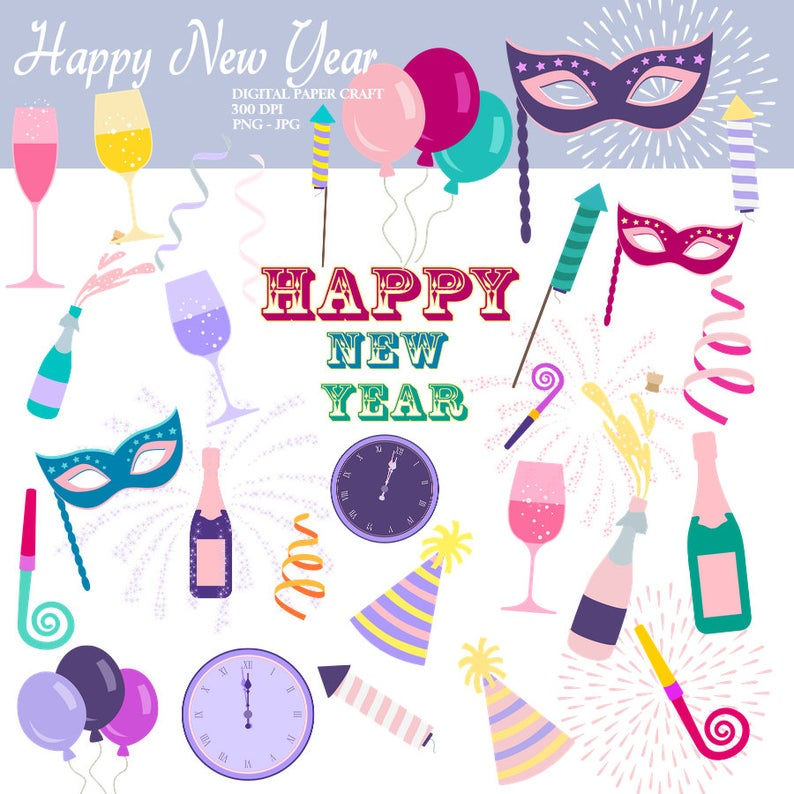 New year clipart, New Years, New Years eve clipart, Instant download, new  year clipart.