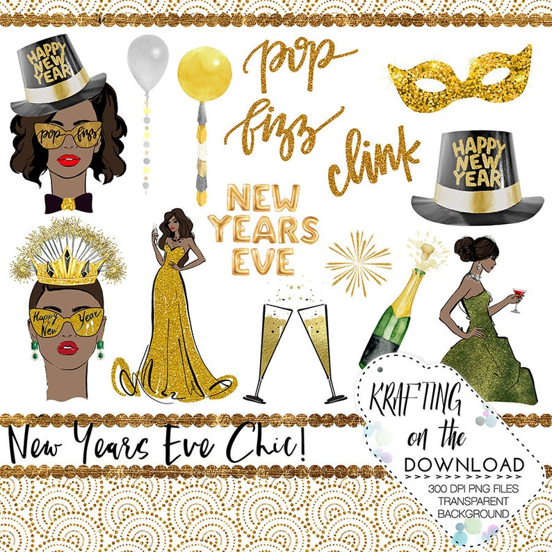 watercolor new years eve clipart set new year medium skin tone planner girl  clip art new year's eve planner girl png file new year png files.
