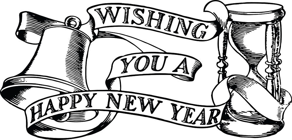 Happy New Year 2019 Clipart Black and White #HappyNewYear.