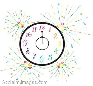 Clip Art Picture of a New Years Clock.