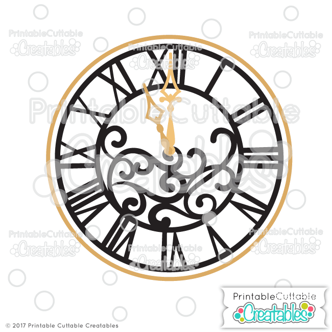 New Year's Clock SVG Cut File & Clipart for Silhouette, Cricut.