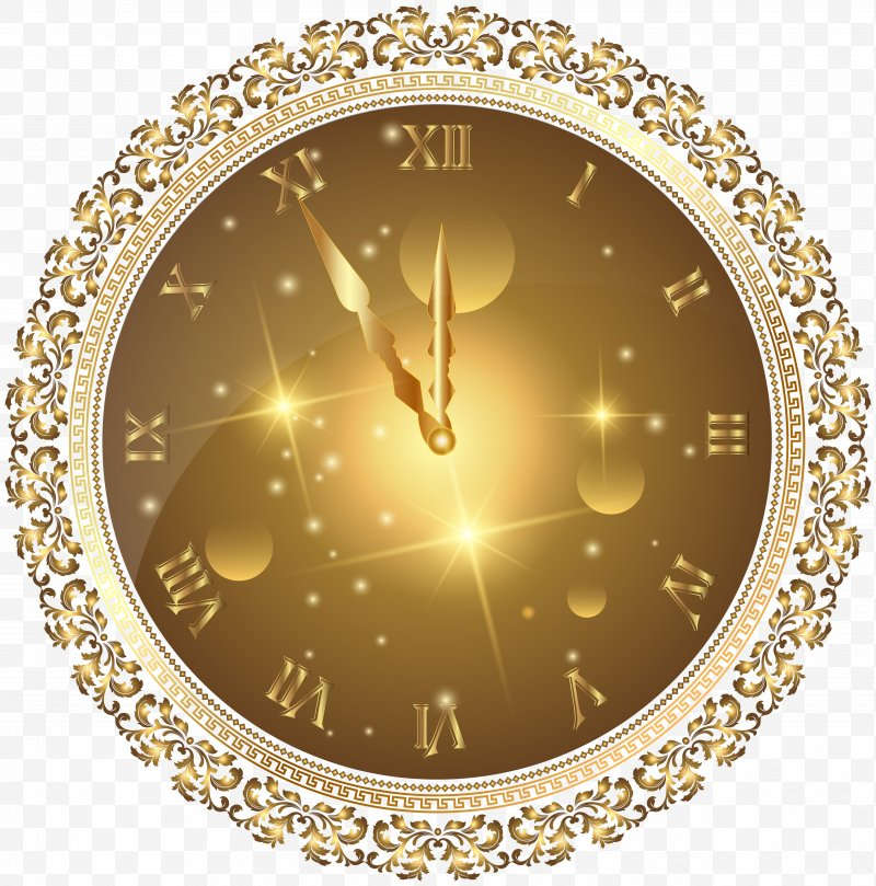 New Year's Eve Clock Clip Art, PNG, 4943x5000px, New Year.