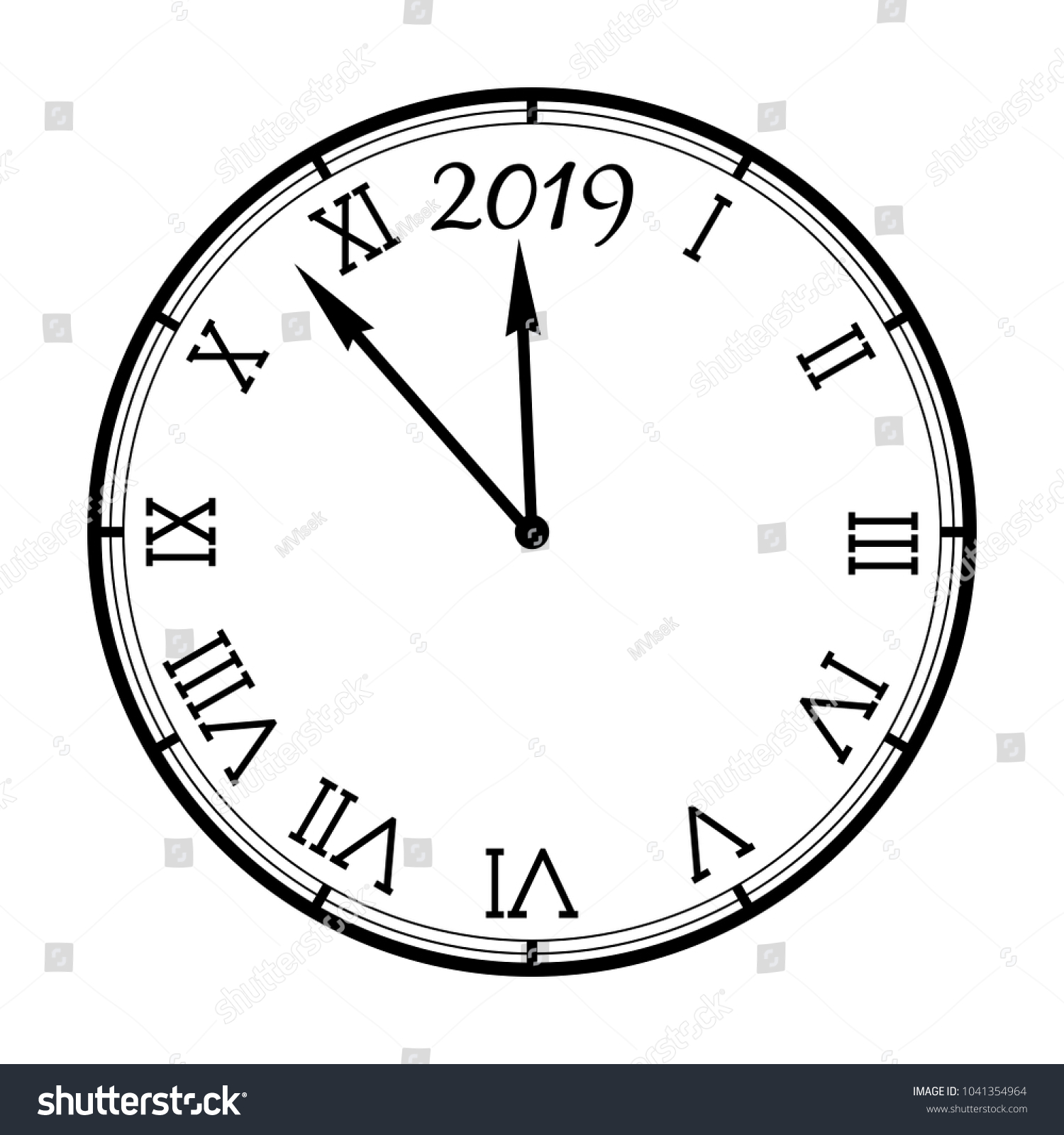 New Year 2019 Clock Icon Isolated Stock Vector (Royalty Free.