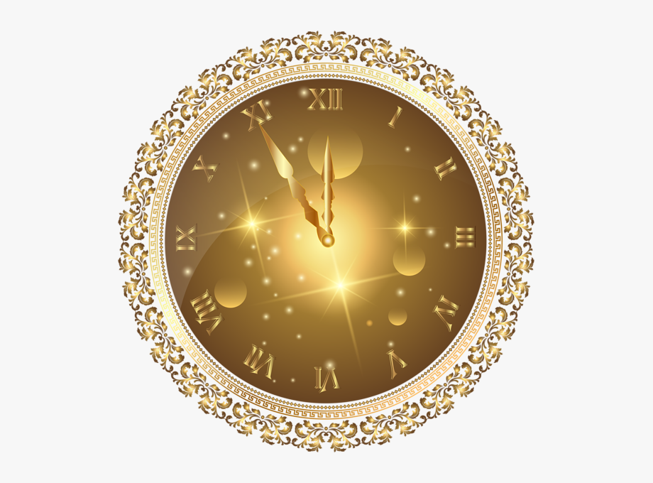 Gold New Year's Clock Png Transparent Clip Art Image.