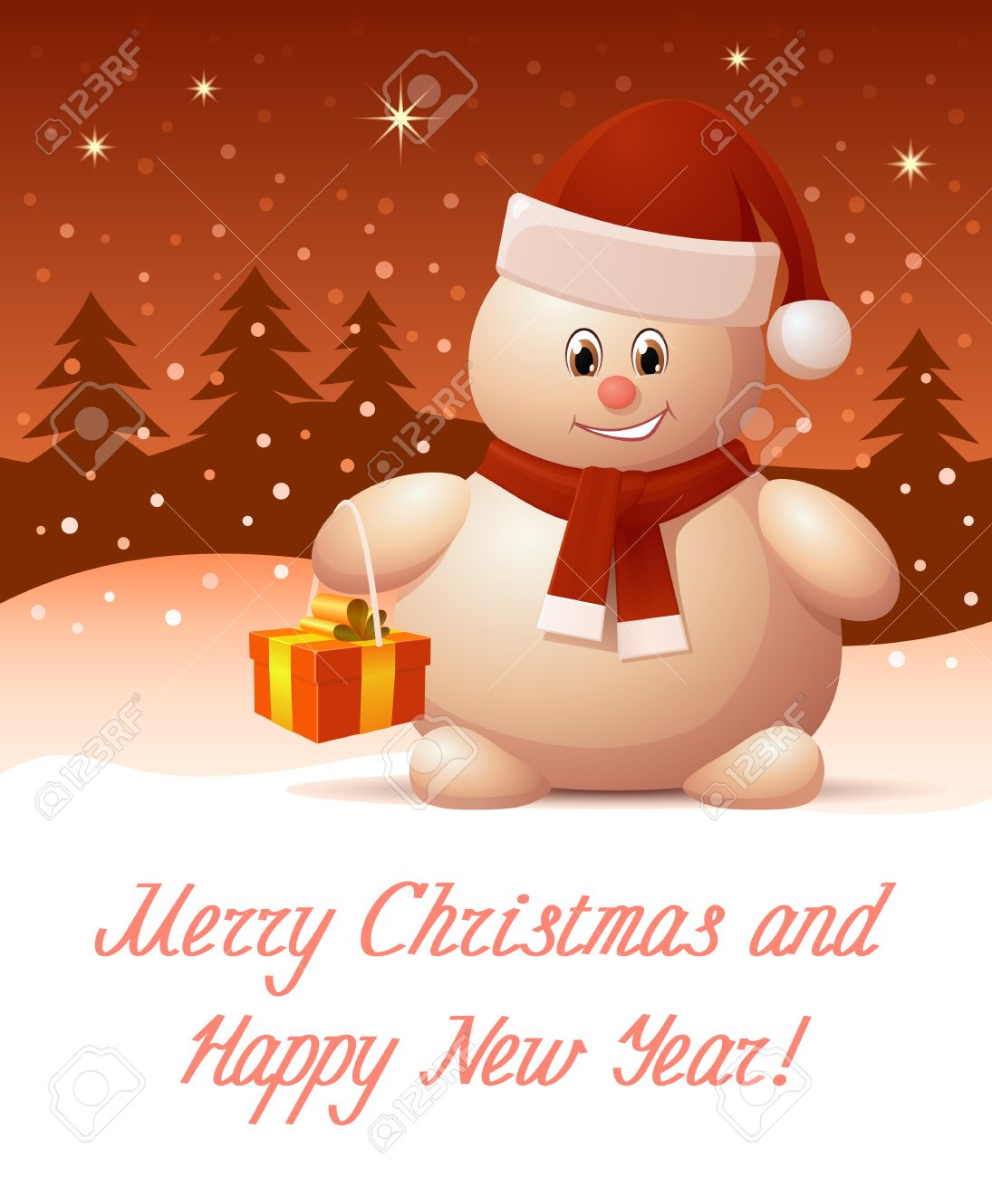Merry Christmas And Happy New Year Greeting Card Royalty Free.  Merry Christmas...