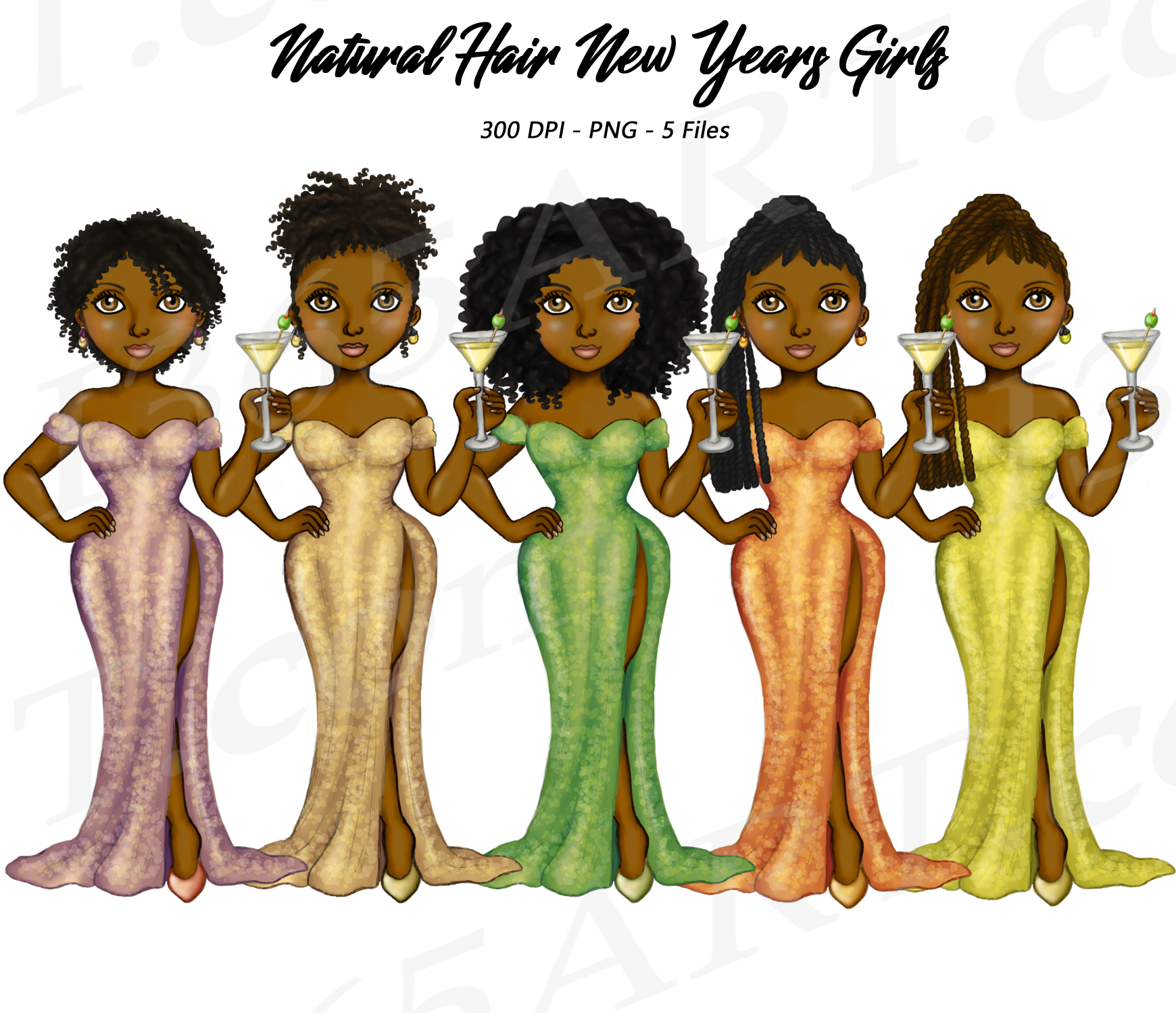 New Years Eve Clipart Natural Hair Fashion Dolls.