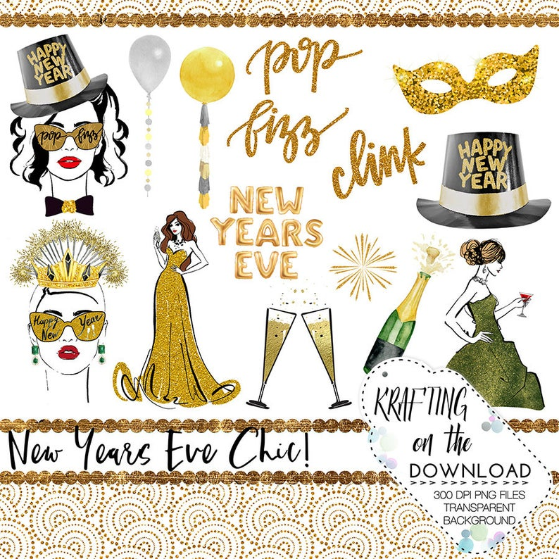 watercolor new years eve clipart set new year planner girl clip art new  year's eve planner girl png file watercolor new year png files.