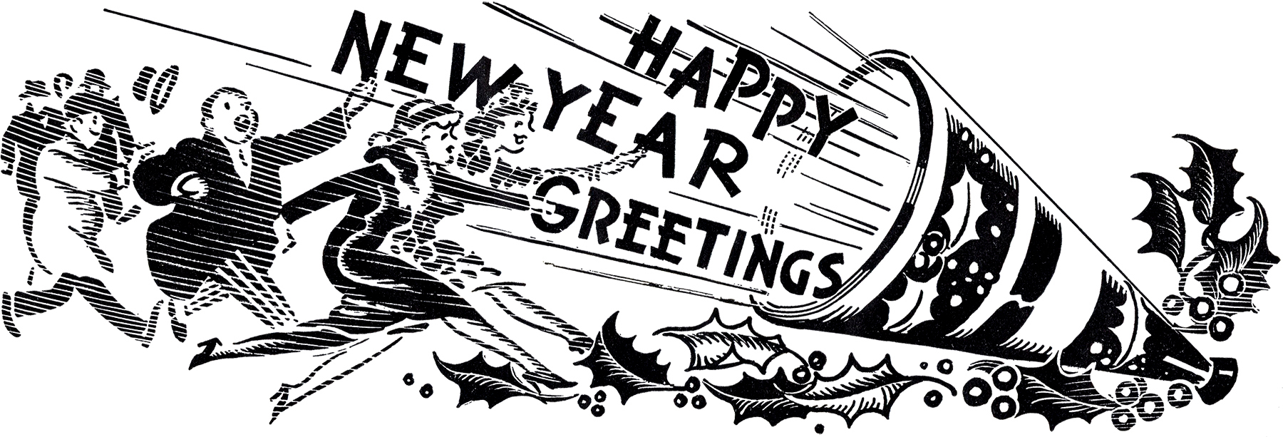 10 Black and White New Year Clipart.
