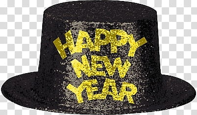 Happy New Year , black party hat with happy new year print.