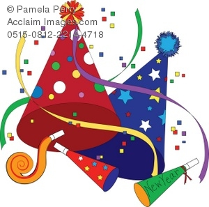 Clip Art Illustration of Party Favors for New Year's Eve.