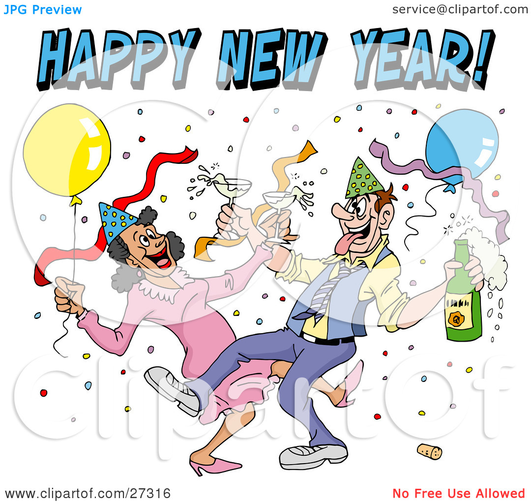 Clipart Illustration of a Drunk Couple Wearing Party Hats And.