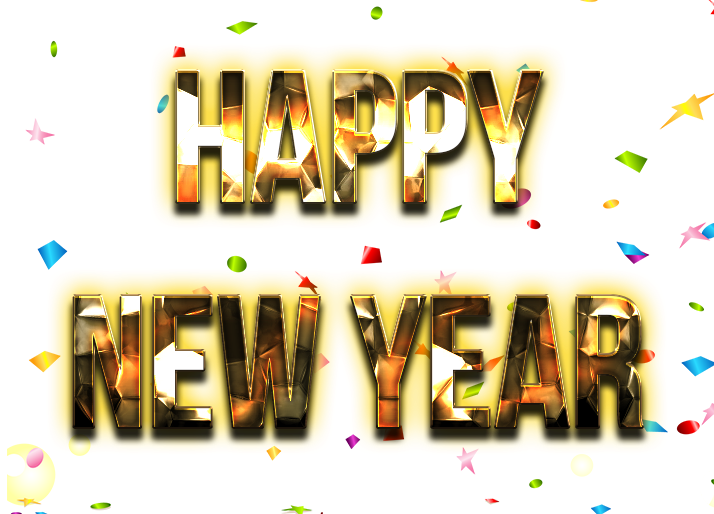 Happy New Year Word PNG Transparent Images.