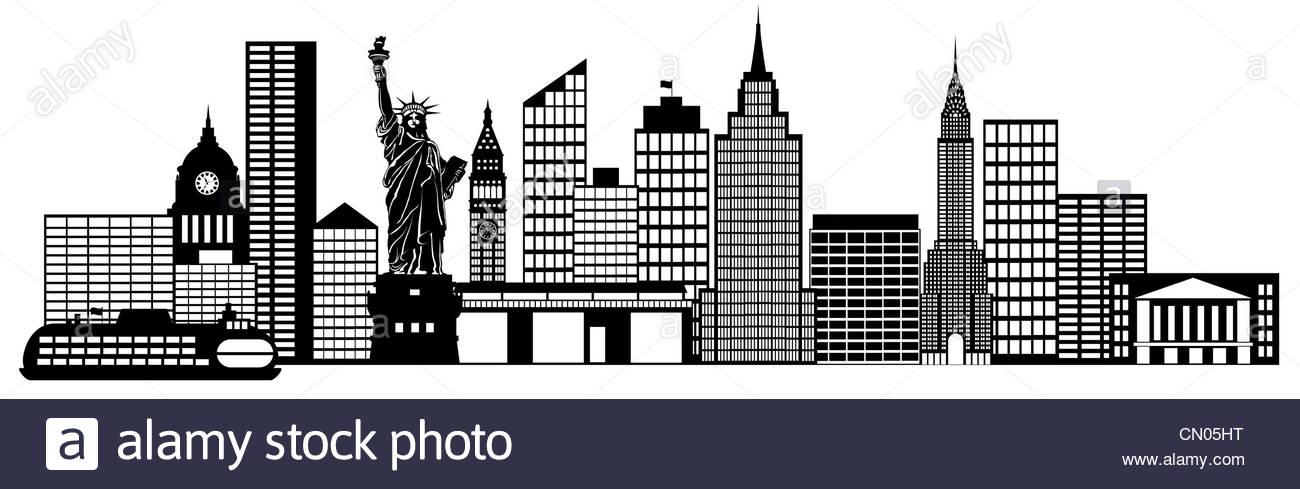 New York City Skyline Panorama Black and White Silhouette.