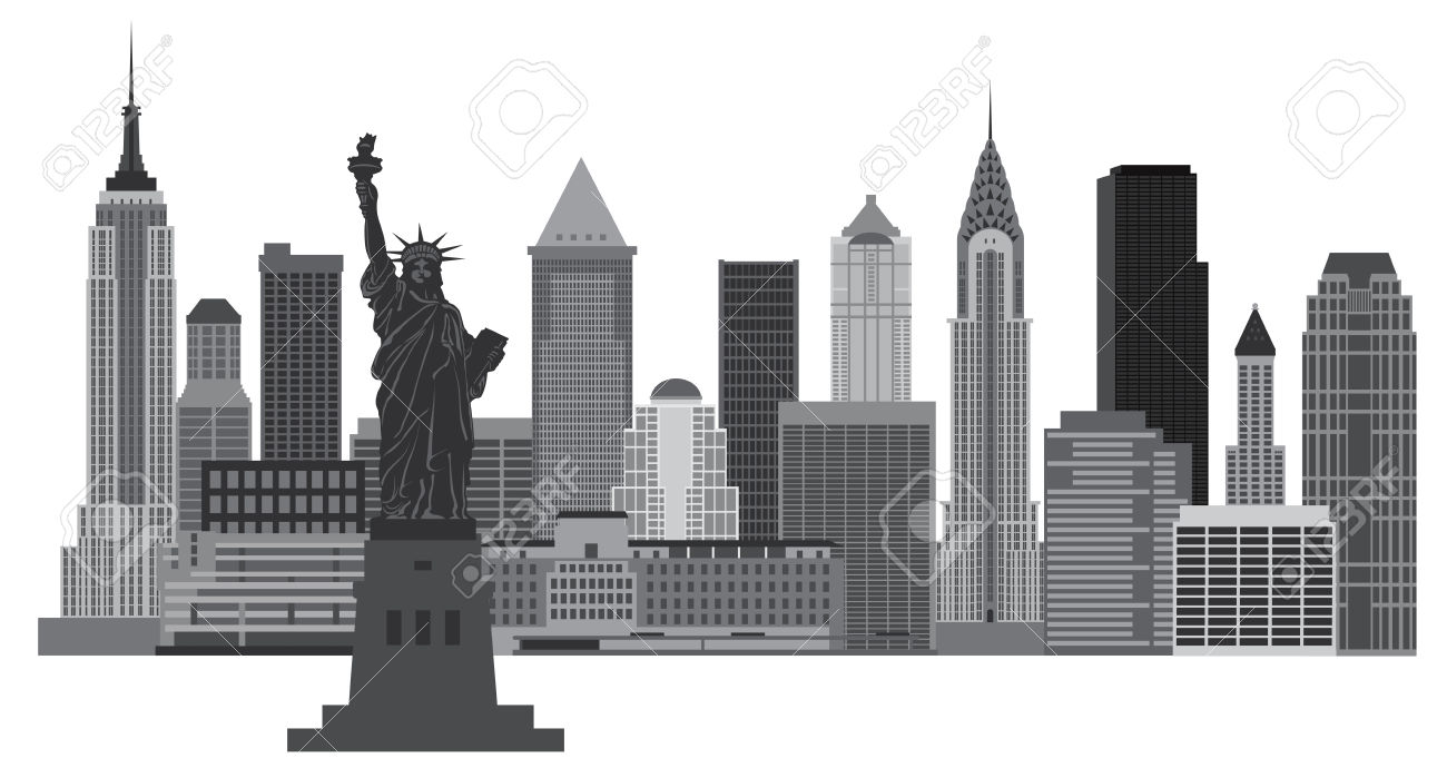 New york city clipart images black and white.