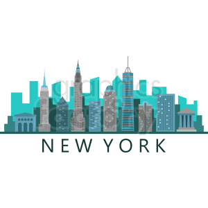 new york city skyline flat vector design with label clipart. Royalty.