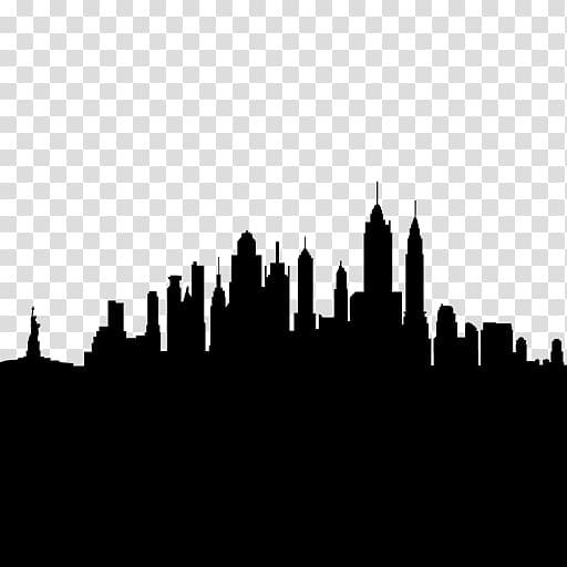 New York City Skyline Silhouette Drawing , Silhouette.