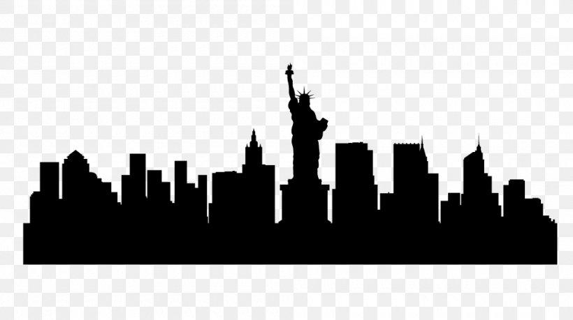 New York City Skyline Silhouette Illustration, PNG.