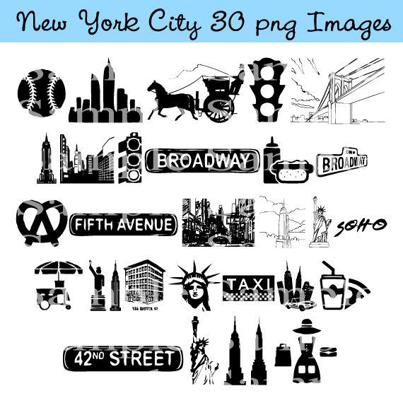 New York City Clip art INSTANT DOWNLOAD Manhattan, Taxi Cab.