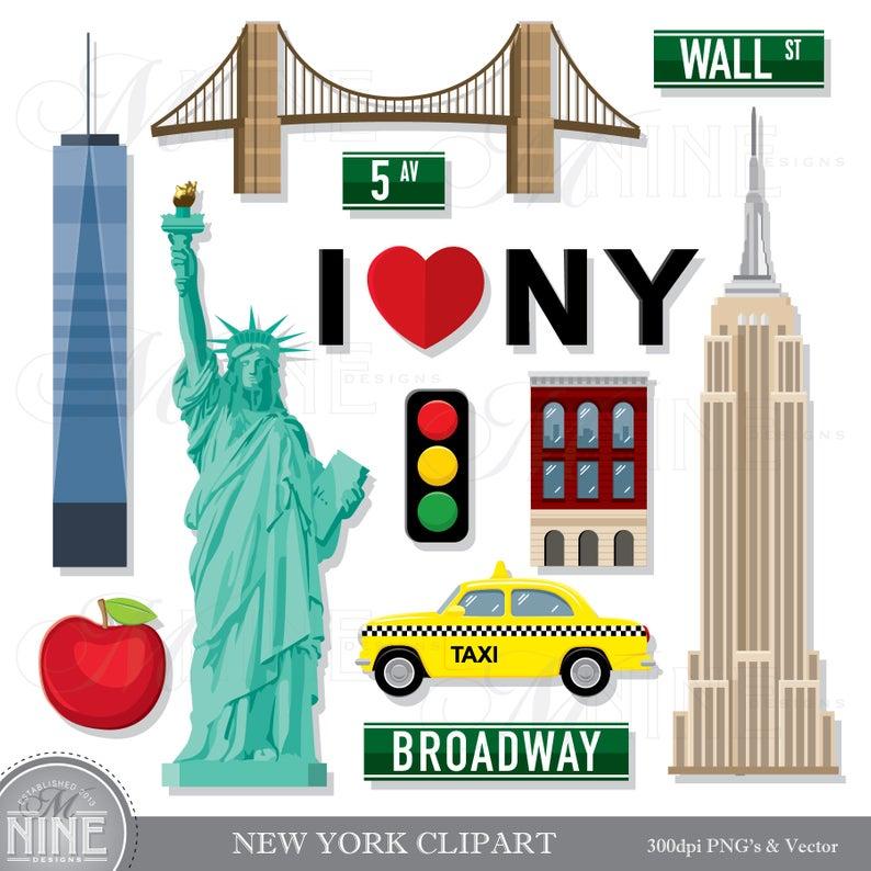 NEW YORK Clip Art / New York Theme Clipart Download / New York Clip Art  Vector Clip Art Statue of Liberty Clipart New York Taxi.