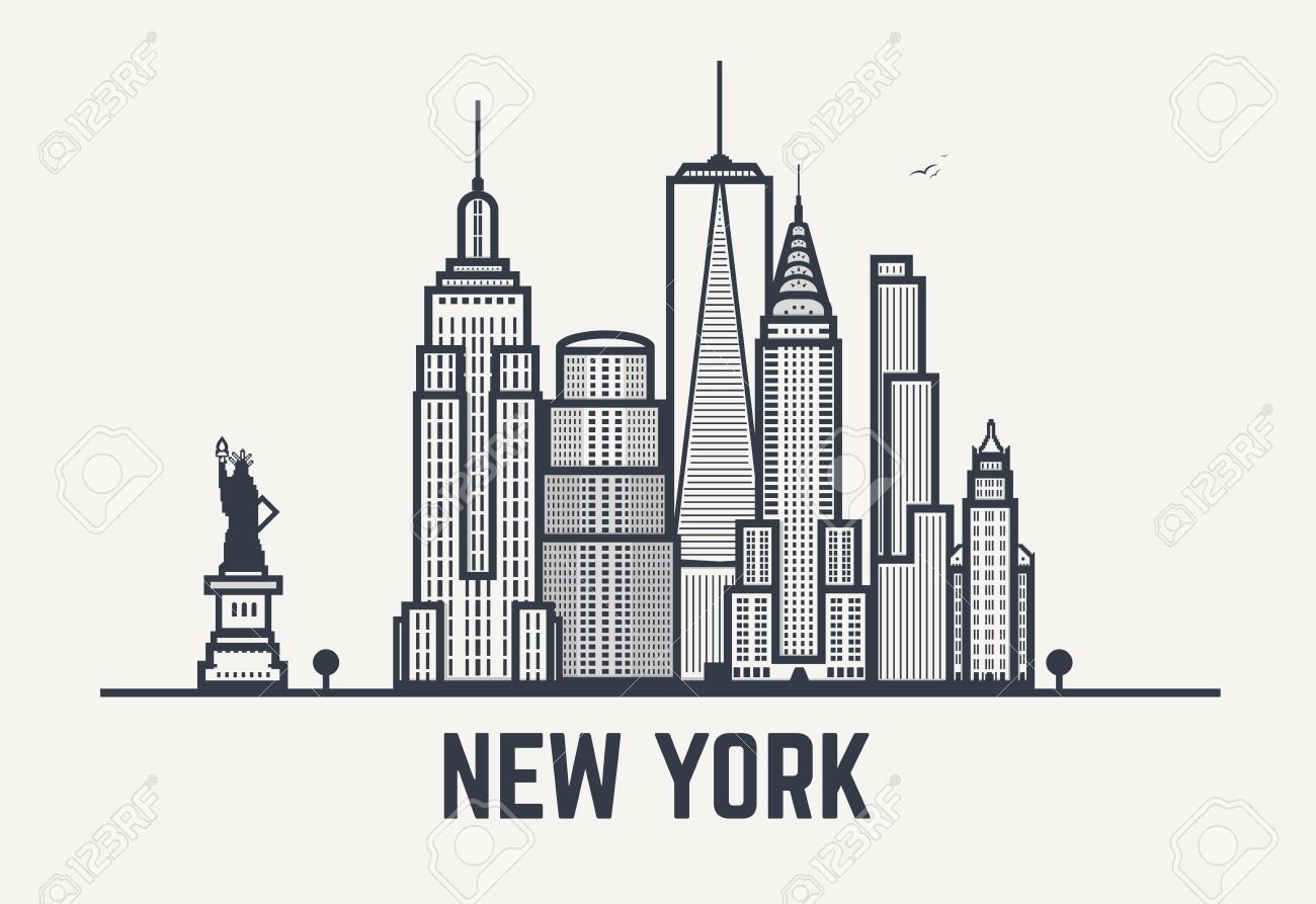 New York city architecture skyline silhouette. Line outlines...