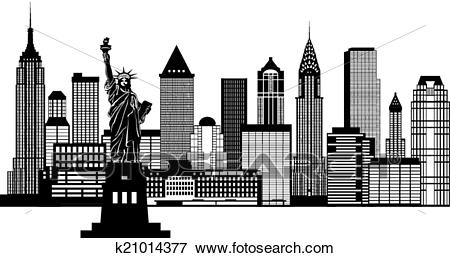 New York City Skyline Black and White Illustration Clip Art.
