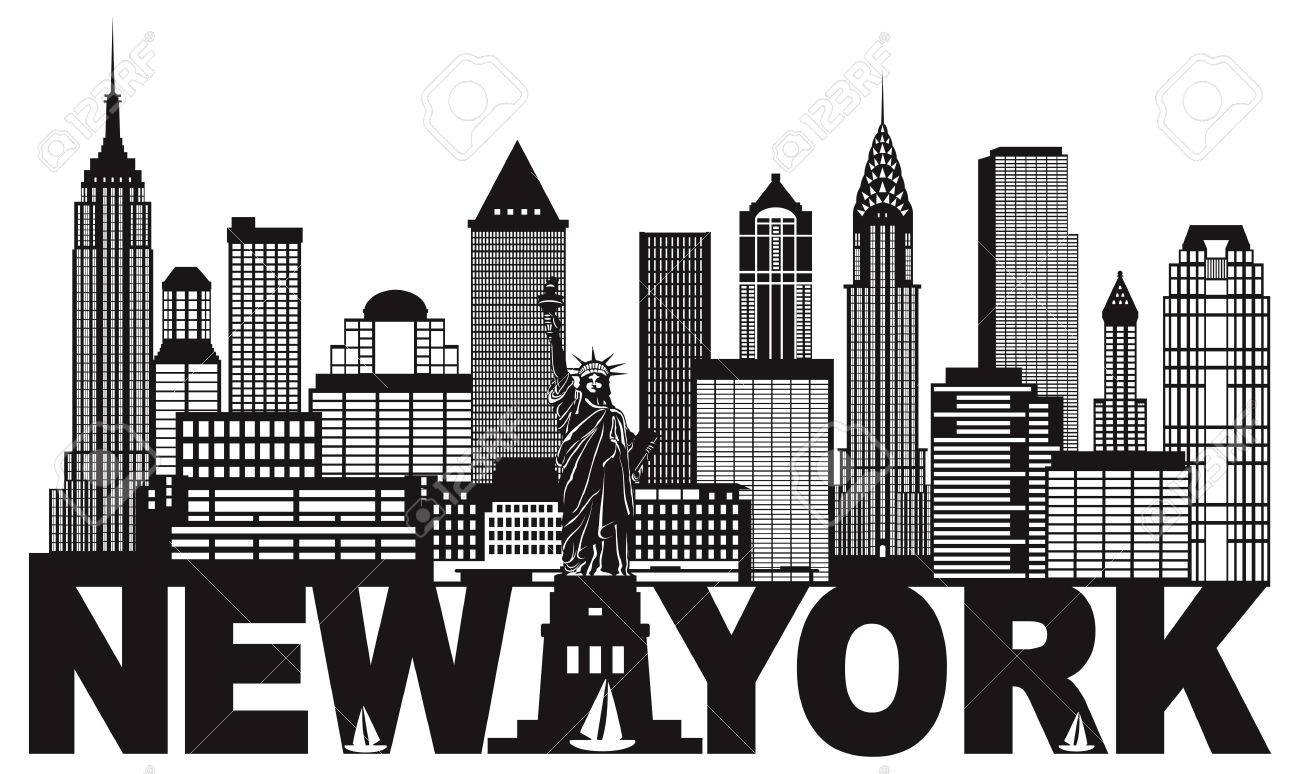 New York City Skyline with Statue of Liberty and text Black and...