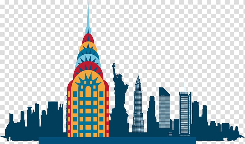 New York illustration, New York City Skyline Silhouette.