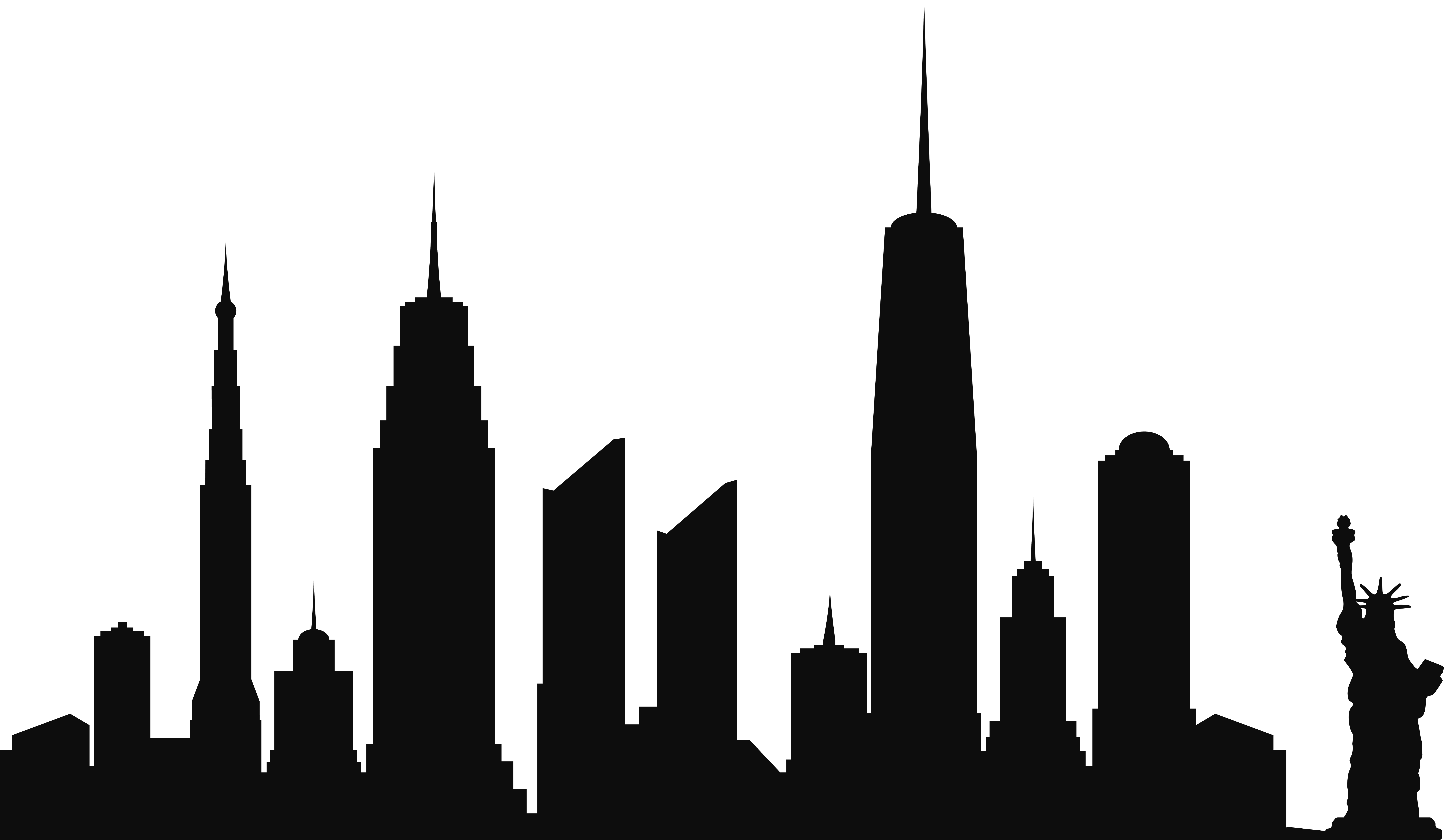 New York City Skyline Silhouette PNG Clip Art.