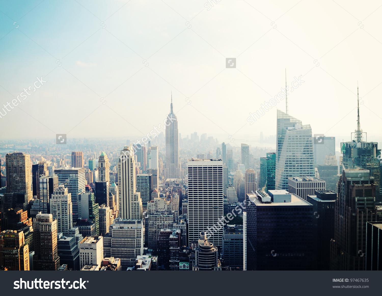 New York City Manhattan Skyline Aerial Stock Photo 97467635.